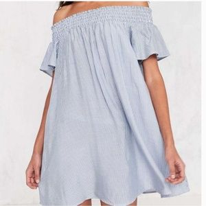 Adorable Cooperative Striped Off Shoulder Dress M